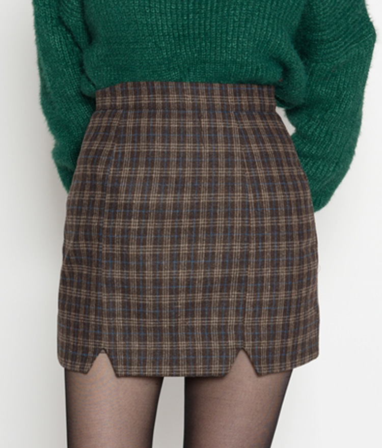 Double Front Slit Detail Check Mini Skirt