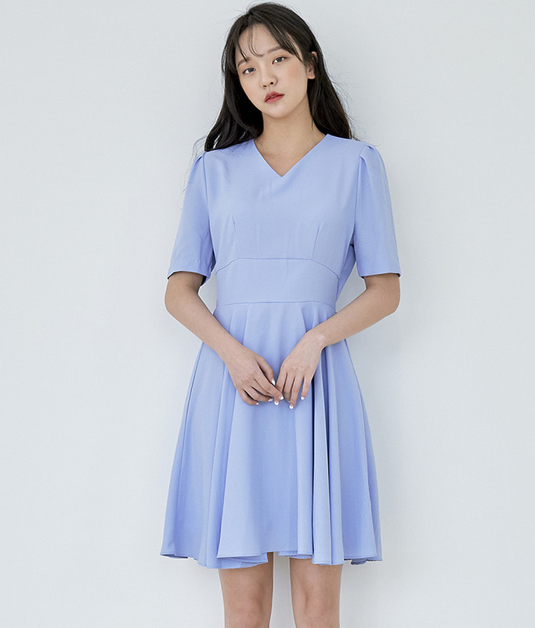 ROMANTIC MUSEV-Neck Flared Dress