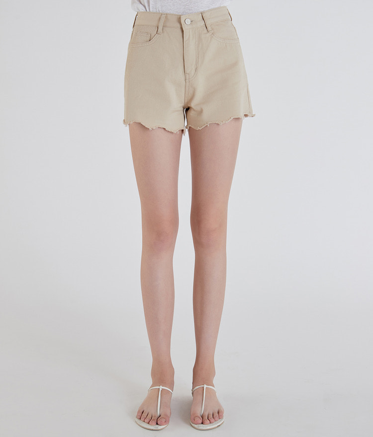 ESSAYWavy Raw-Edged Hem Shorts