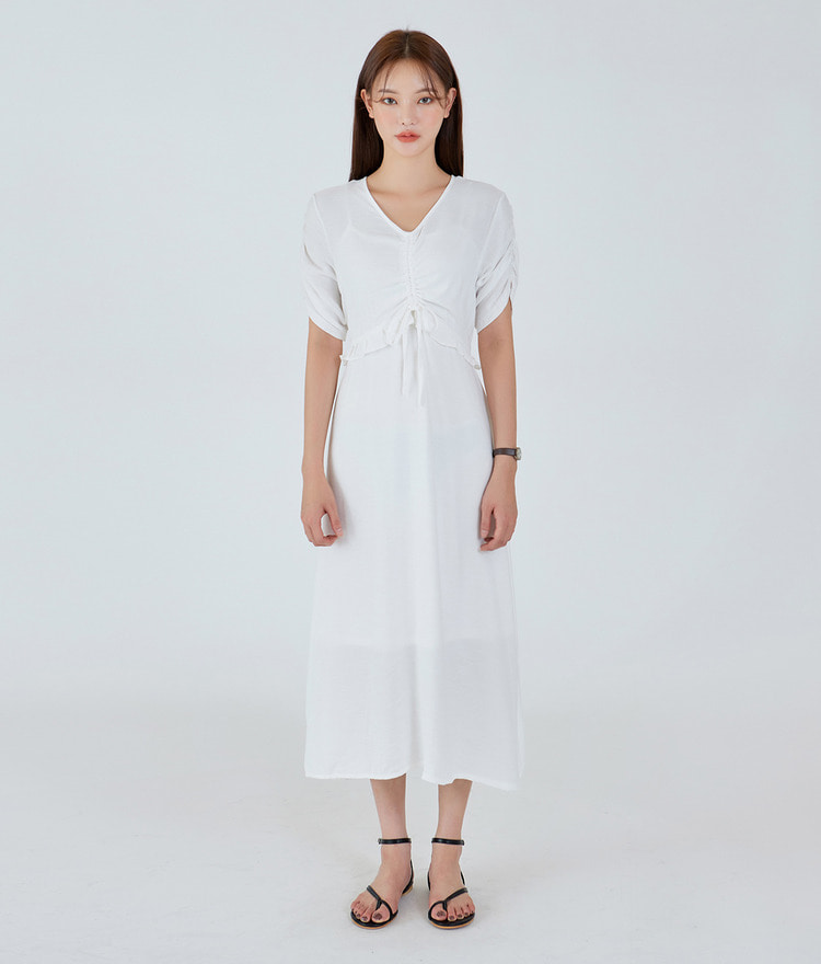 ESSAYV-Neck Ruched Dress