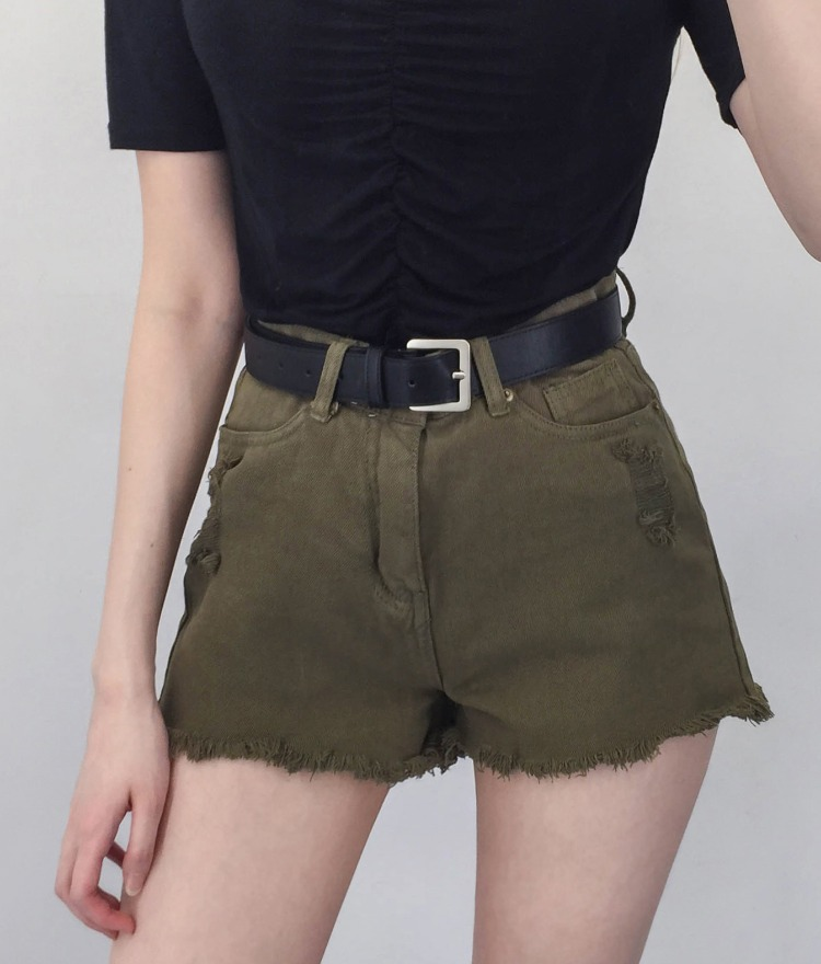 QUIETLABHigh Waist Distressed Shorts
