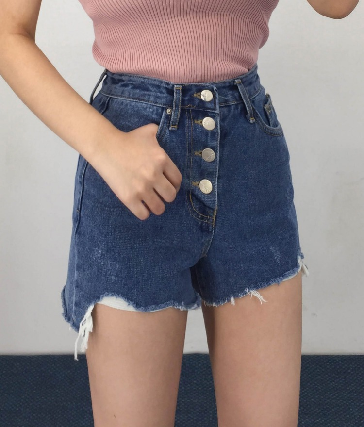 QUIETLABButton-Fly Raw Hem Denim Shorts