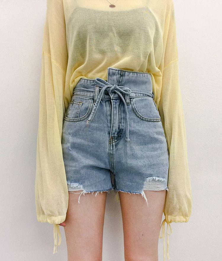 QUIETLABHigh Waist Ribbon Detail Denim Shorts