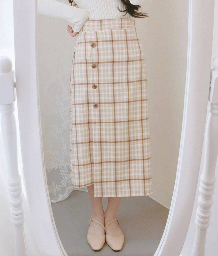 ROMANTIC MUSEOff-Center Button Check Midaxi Skirt