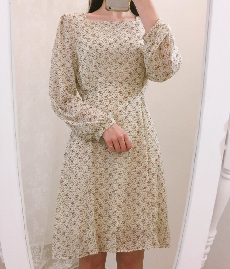 ROMANTIC MUSESquare Neck Patterned Flared Dress