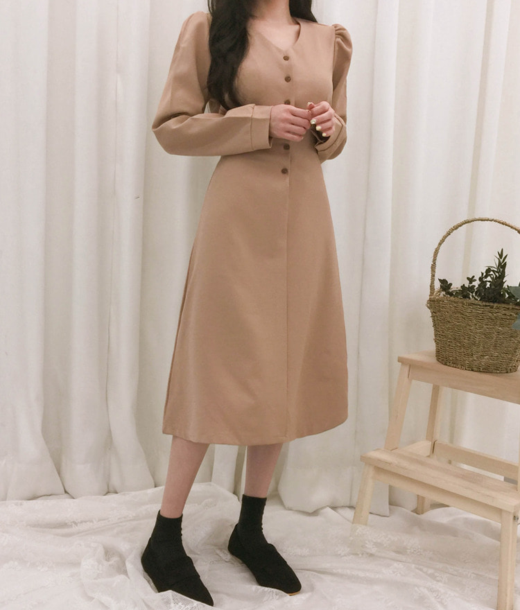 ROMANTIC MUSEV-Neck A-Line Dress