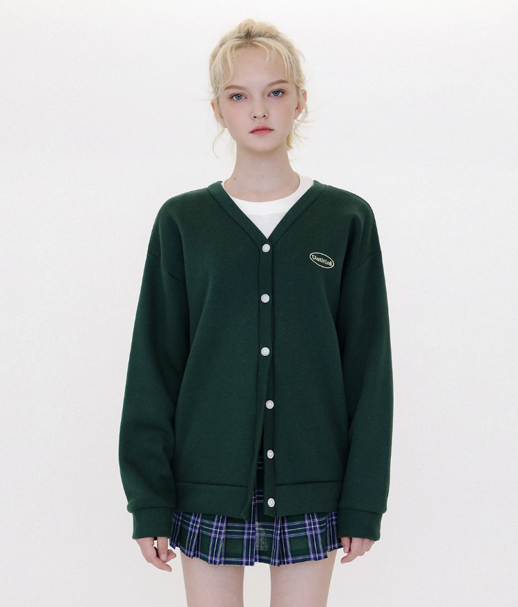 UNTITLE8Embroidered Logo Green Button-Up Cardigan