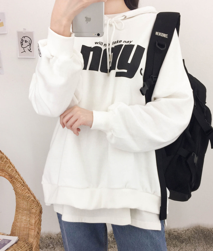 NEVERM!NDFront Print Loose Fit Hoodie