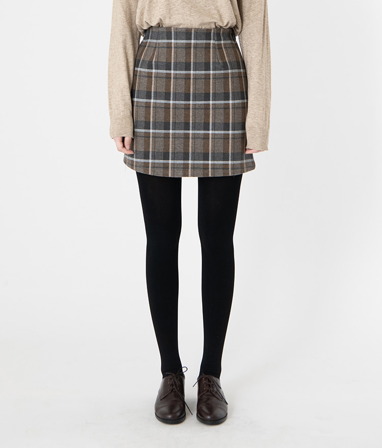 ESSAYSemi-Elastic Waist Check Mini Skirt