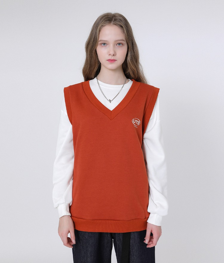 UNTITLE8Embroidered Logo Dark Orange Vest