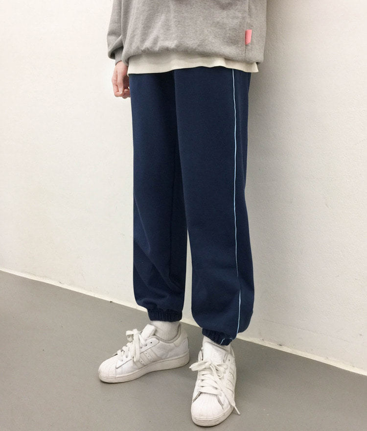 NEVERM!NDContrast Piping Jogger Pants