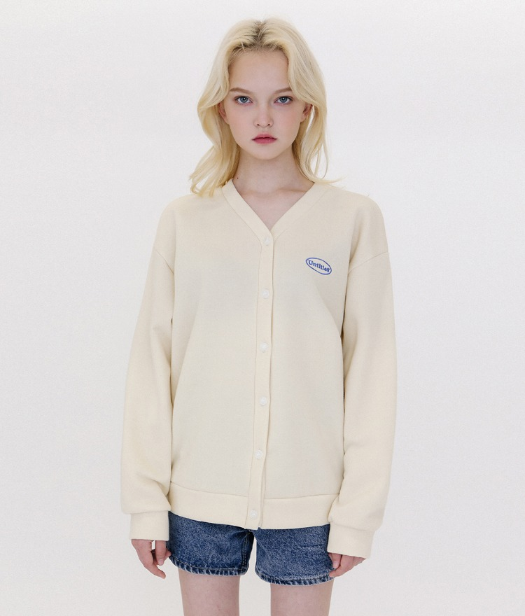 UNTITLE8Embroidered Logo Cream Button-Up Cardigan