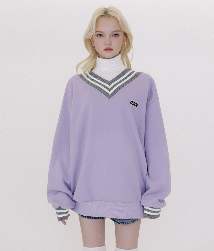 UNTITLE8Contrast Stripe Lavender Sweatshirt