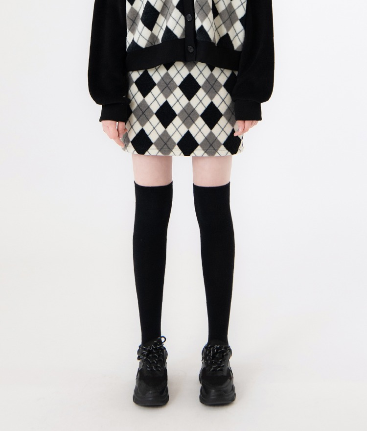 UNTITLE8Black Argyle Pattern Skirt