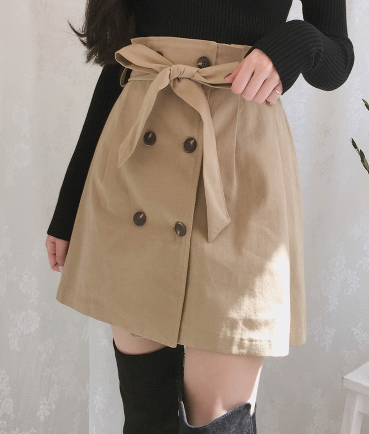 ROMANTIC MUSESelf-Tie Belt Double-Breasted Button Mini Skirt