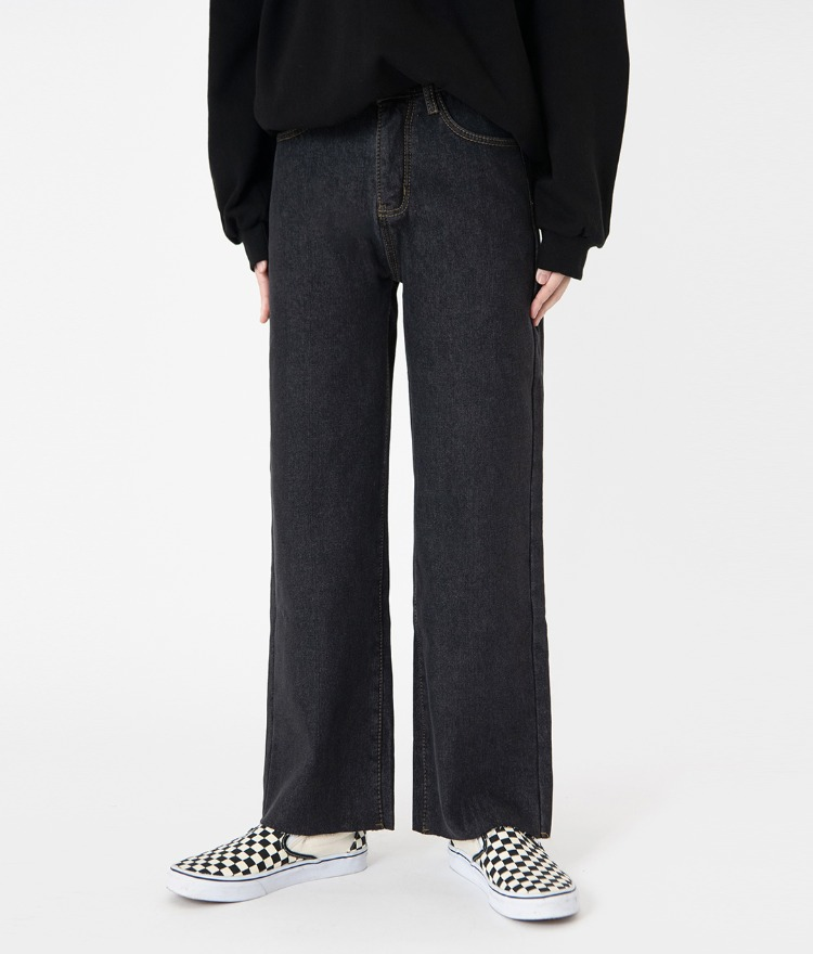 NEVERM!NDBlack Wide-Leg Raw Hem Denim Pants