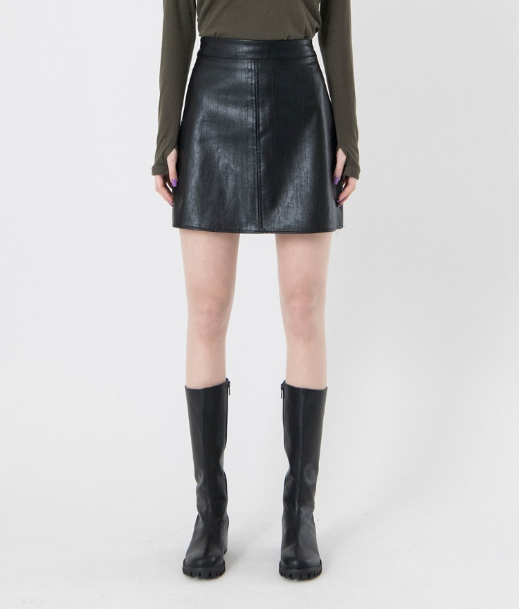 QUIETLABSingle Tone Faux Leather Skirt