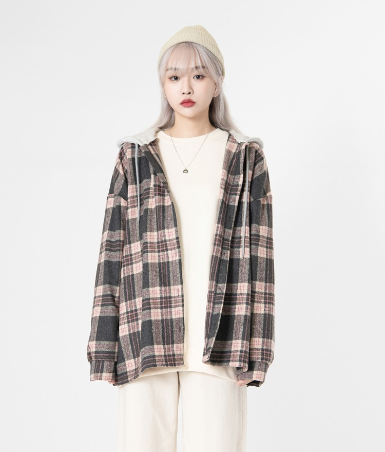 NEVERM!NDHooded Check Shirt