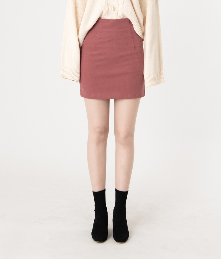 ROMANTIC MUSESingle Tone H-Line Mini Skirt