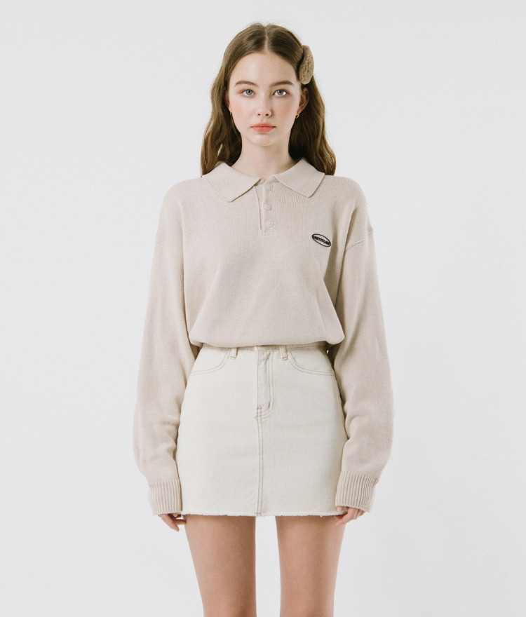 UNTITLE8  Cream-Toned Collared Knit Top