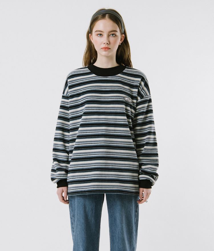 UNTITLE8  Blue Striped Sweatshirt