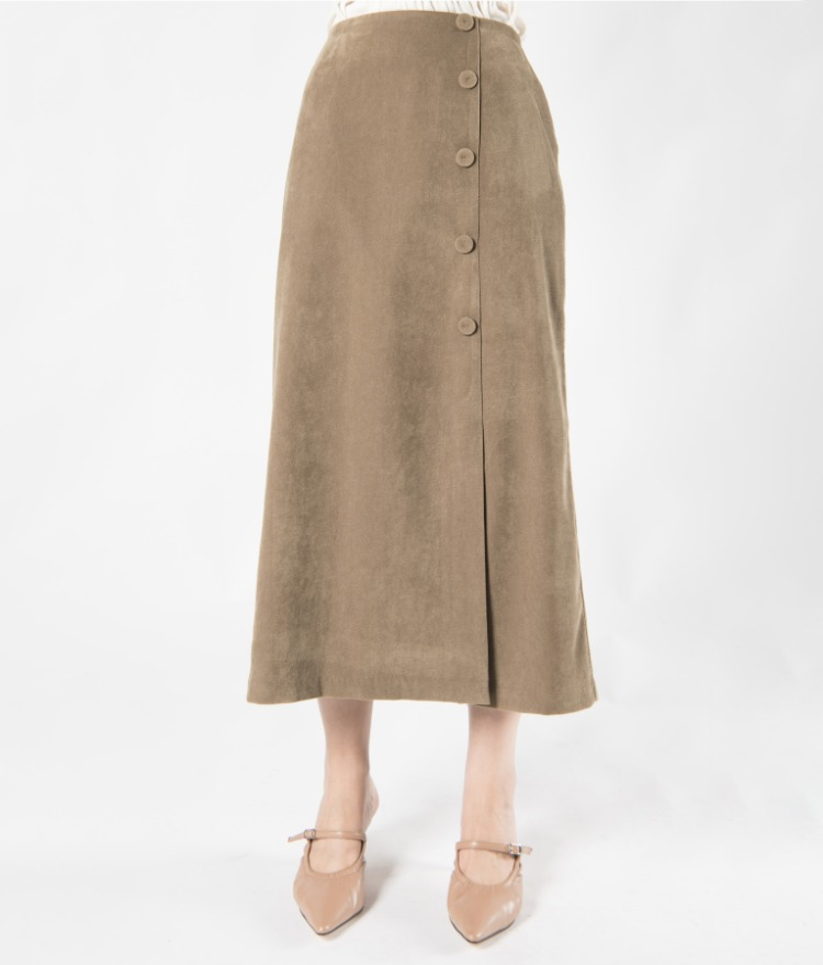 Off-Center Button A-Line Skirt