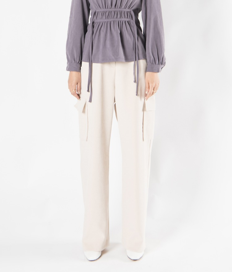 Flap Pocket Wide-Leg Slacks