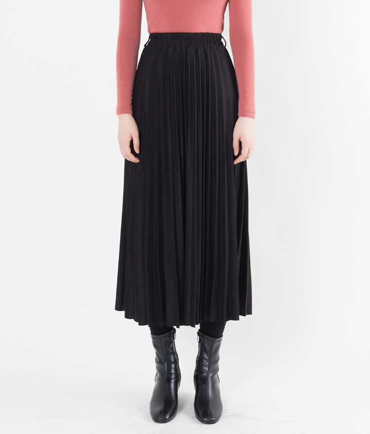 Elastic Waist Pleated Long Skirt