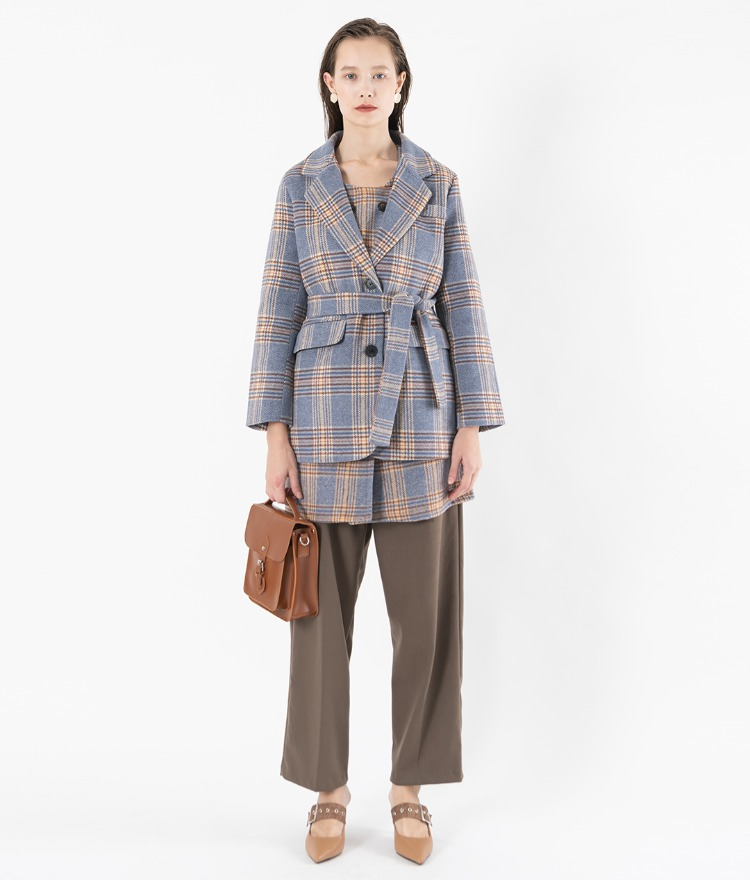 Self-Tie Belt Check Jacket
