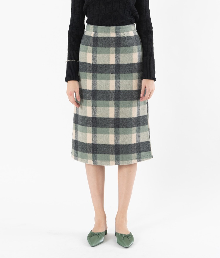 High-Waist Check Midi Skirt