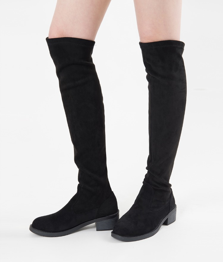 Low Stacked Heel Tall Boots