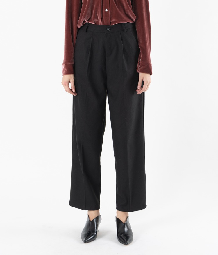 Pleat Accent Wide Leg Pants