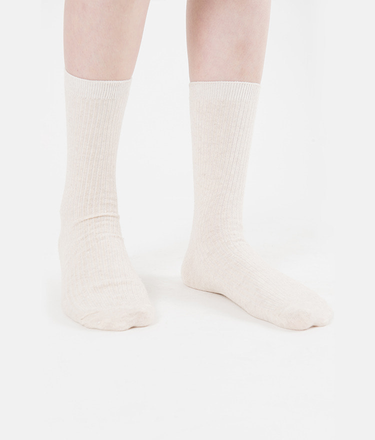 Ribbed Panel Crew Socks