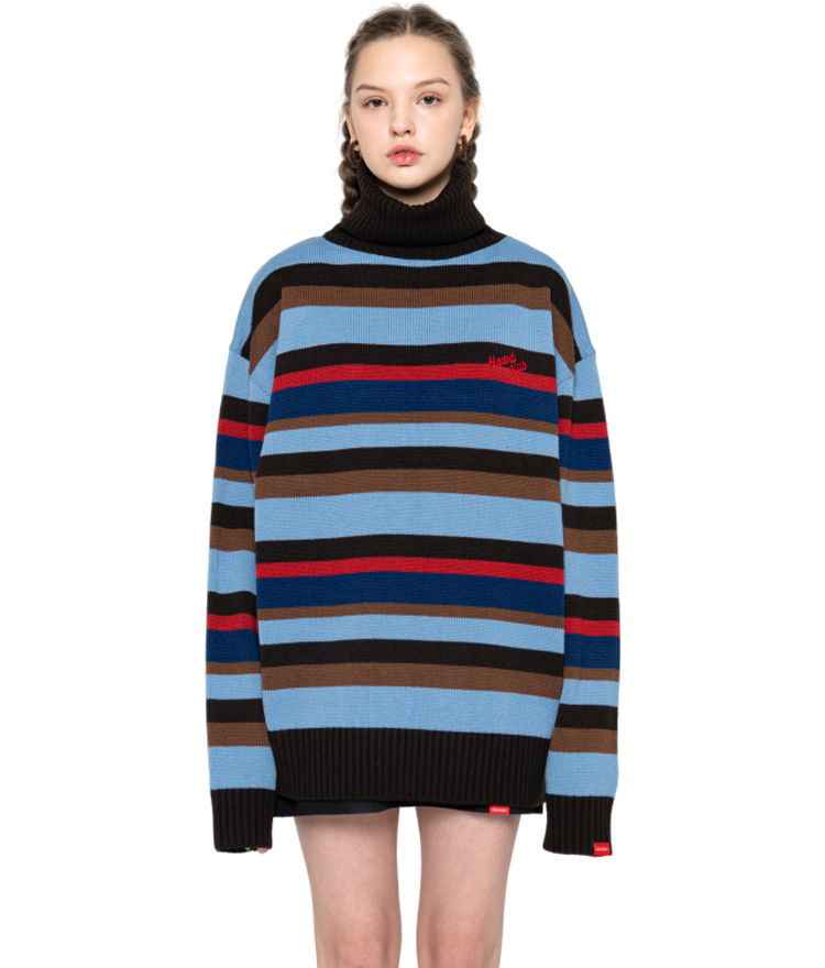 HEART CLUBStriped Turtleneck Loose Knit Top