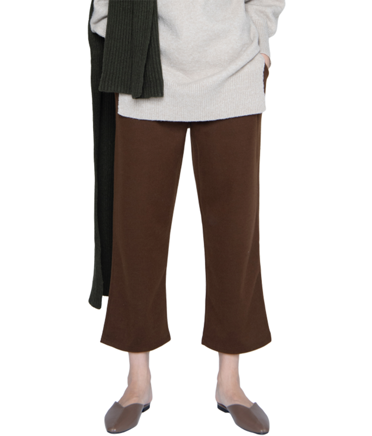 Fleece-Lined Wide-Leg Pants