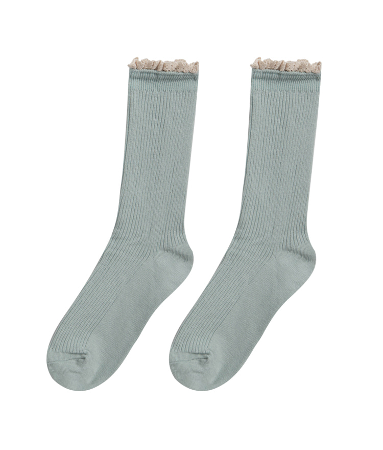ROMANTIC MUSEContrast Lace Edge Socks