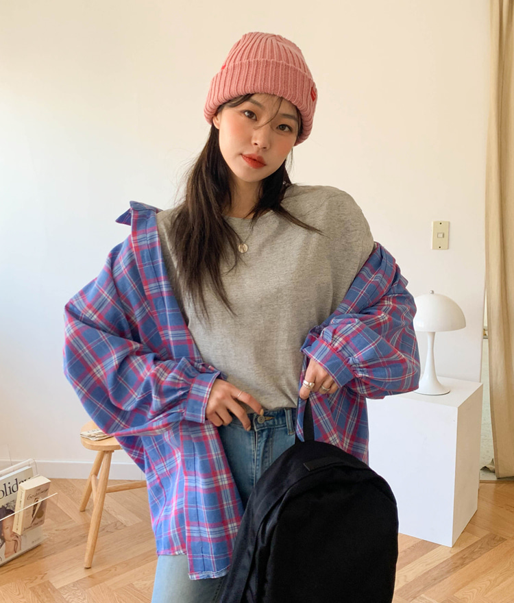 NEVERM!NDBalloon Sleeve Oversized Check Shirt