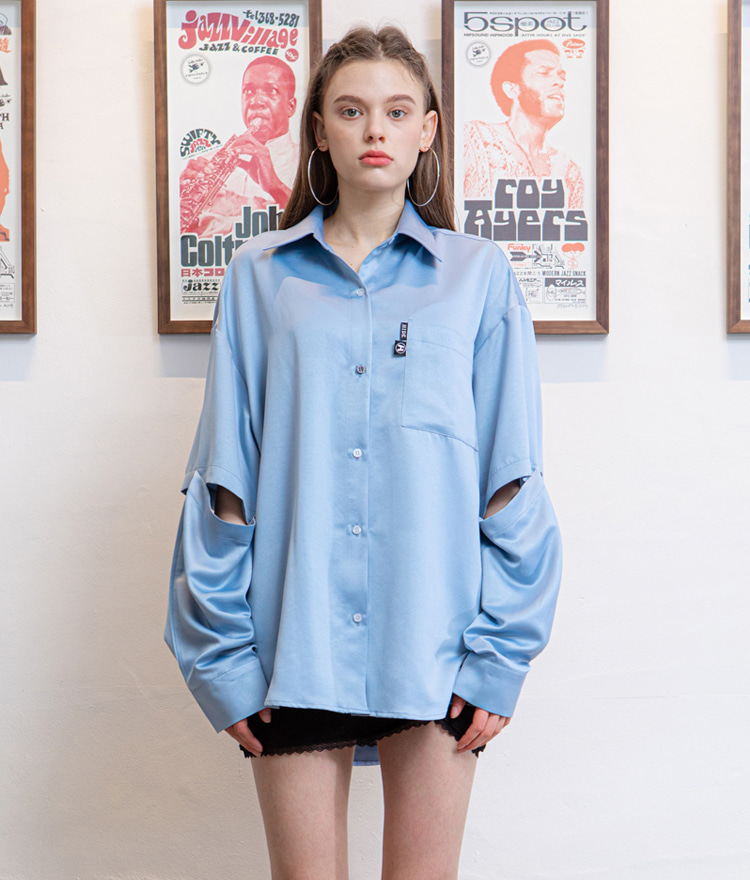 HIDESky Blue Detachable Sleeve Shirt