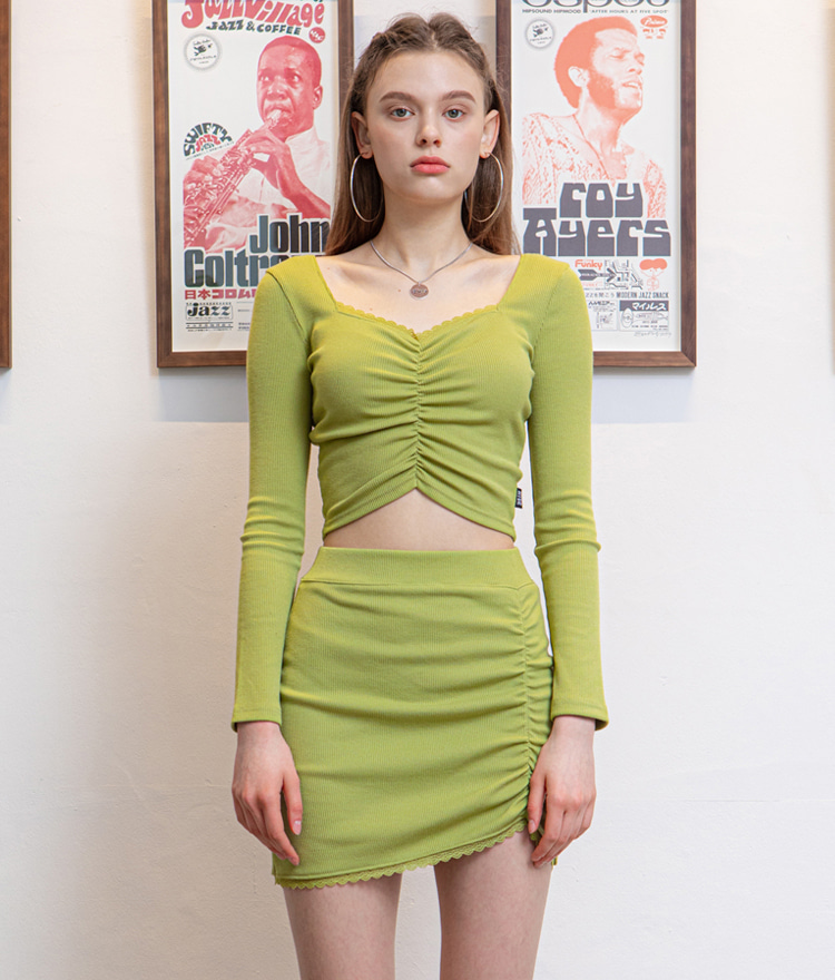 HIDELace-Trimmed Neck Olive Crop Top