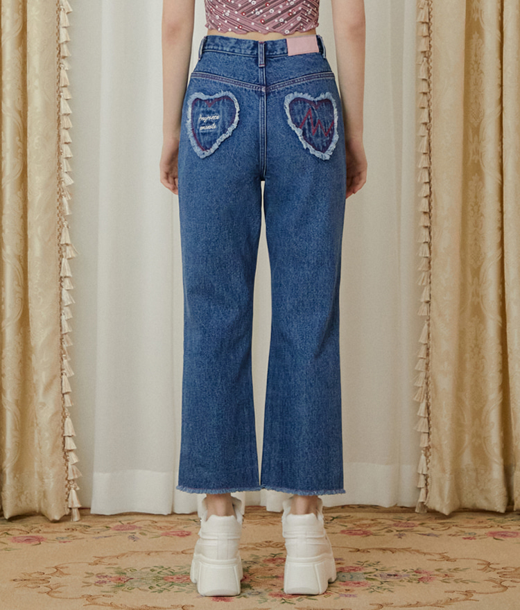 Heart Shape Denim Pants (Deep Blue)