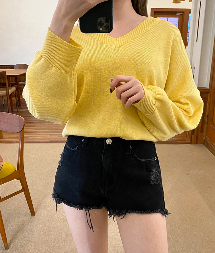 NEVERM!NDSolid Tone V-Neck Knit Top