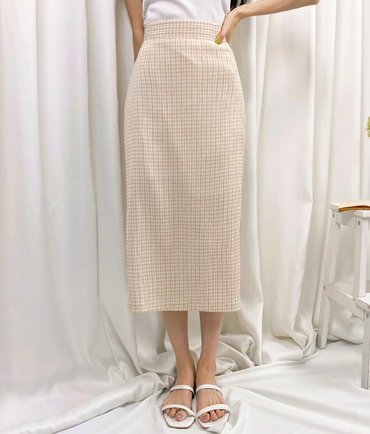ROMANTIC MUSECheck Straight Cut Long Skirt