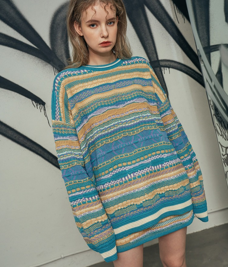 HIDEAssorted Knit Pattern Loose Sweater