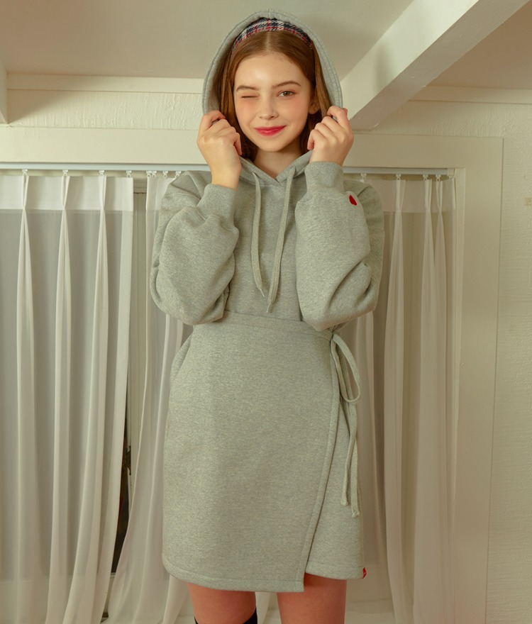 HEART CLUBGray Hooded Mini Dress