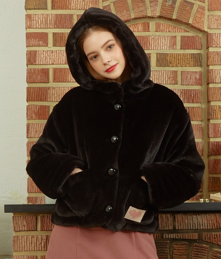 HEART CLUBBlack Faux Fur Hooded Jacket