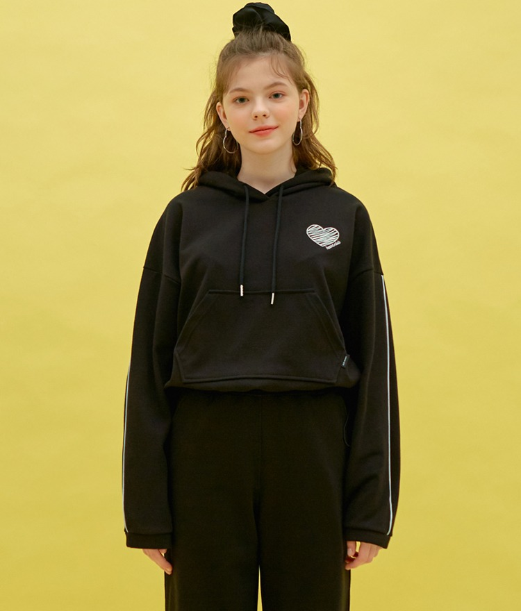 HEART CLUBCord-Locked Hem Black Hoodie