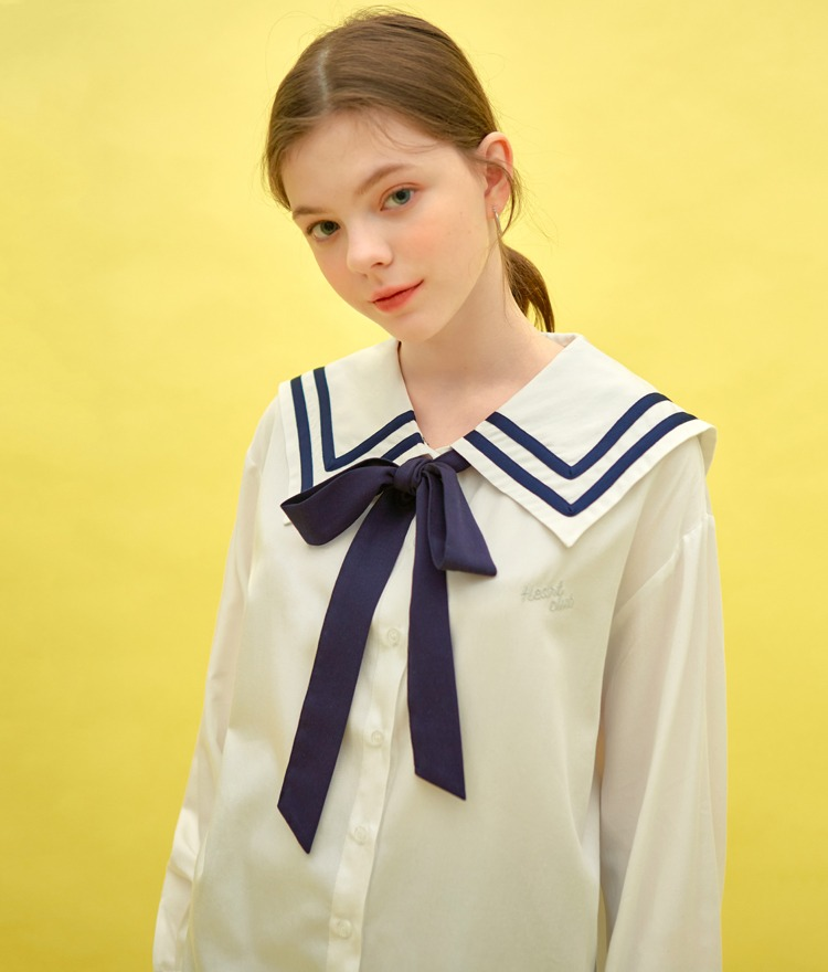 HEART CLUBContrast Ribbon Sailor Collar Shirt