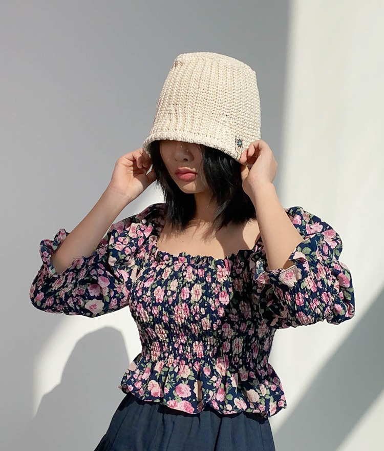 NEVERM!NDFloral Patch Knit Bucket Hat