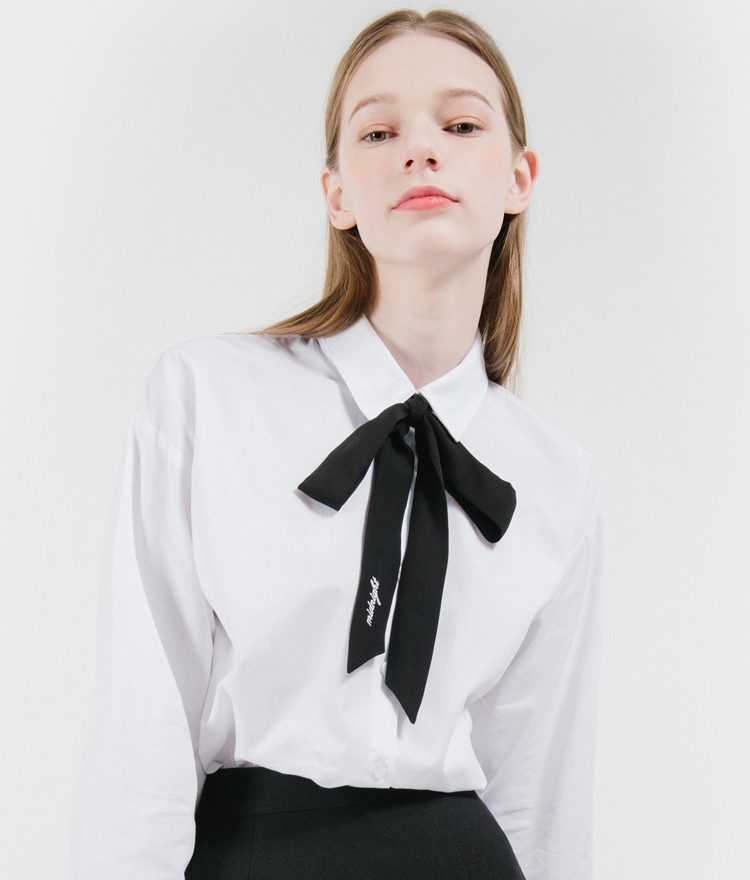 Ribbon Accent Button-Down Shirt